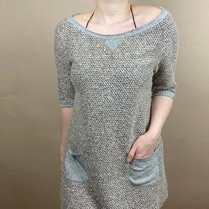 Meadow Rue Tweed Knit Dress With Pockets MEDIUM
